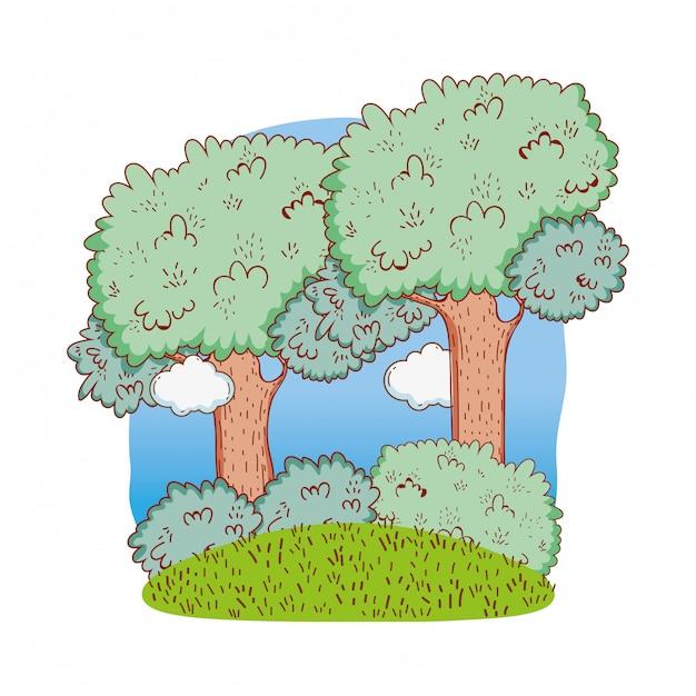 Natureza bonito das árvores Vetor Premium