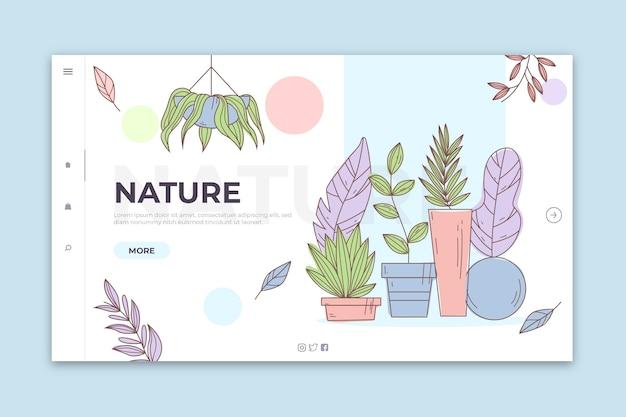Natureza da página de destino desenhados à mão Vetor grátis