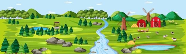 Natureza de fazenda com cenário de celeiros Vetor grátis