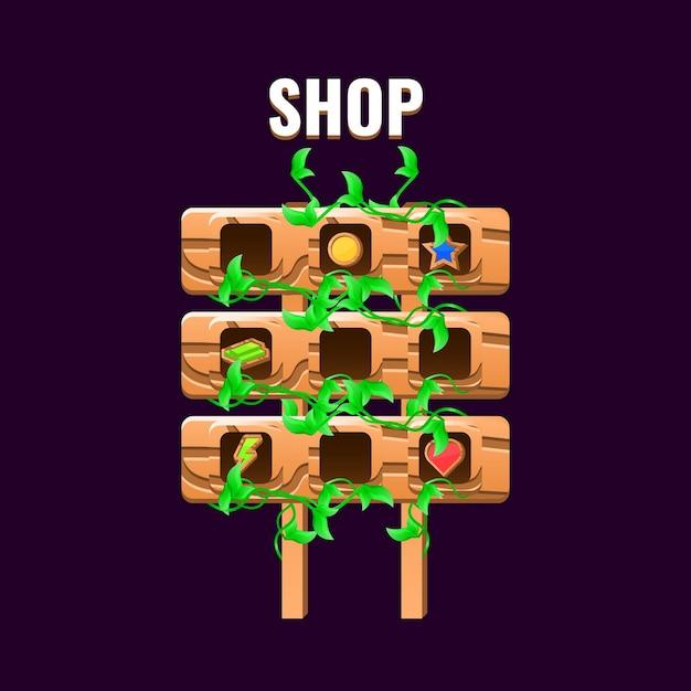 Natureza de madeira deixa interface do usuário do jogo de sinais com interface do menu da loja Vetor Premium