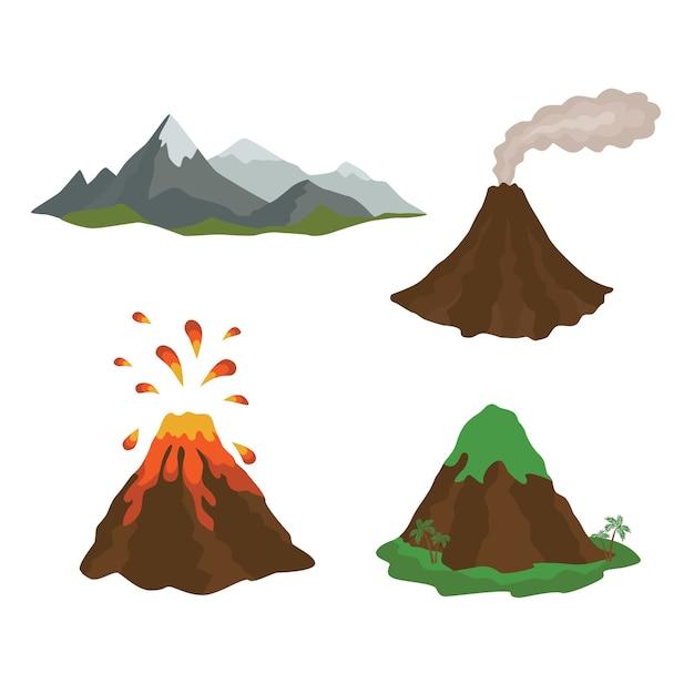 Natureza de magma vulcânico explodindo com lava fluindo para baixo Vetor Premium