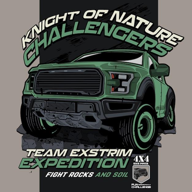 Natureza desafiadora offroad, ilustrações de carros de vetor Vetor Premium