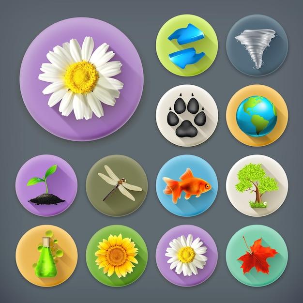 Natureza e ecologia, conjunto de ícones de sombra longa Vetor Premium