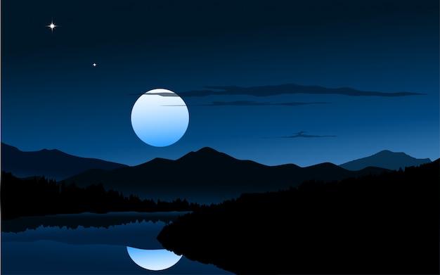 Natureza em meia noite Vetor Premium