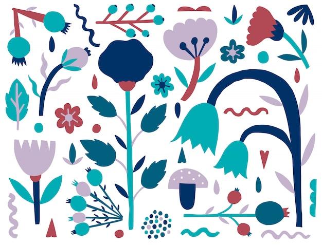 Natureza ingênua plana. forma de plantas isolada. fantasia de estilo minimalista. Vetor Premium