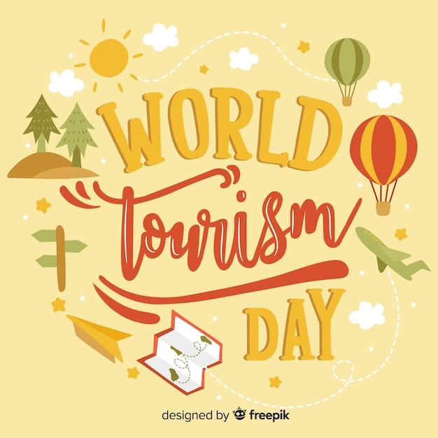 Natureza mundo turismo dia letras Vetor grátis