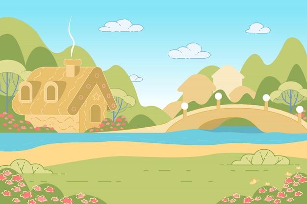 Natureza paisagem com casa de gengibre de conto de fadas Vetor Premium