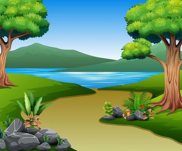 Natureza, paisagem, com, rio, e, montanha Vetor Premium
