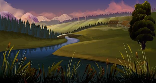 Natureza, paisagem de fundo de noite de rio Vetor Premium