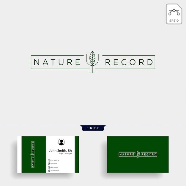 Natureza registro folha natureza distintivo linha simples logotipo Vetor Premium