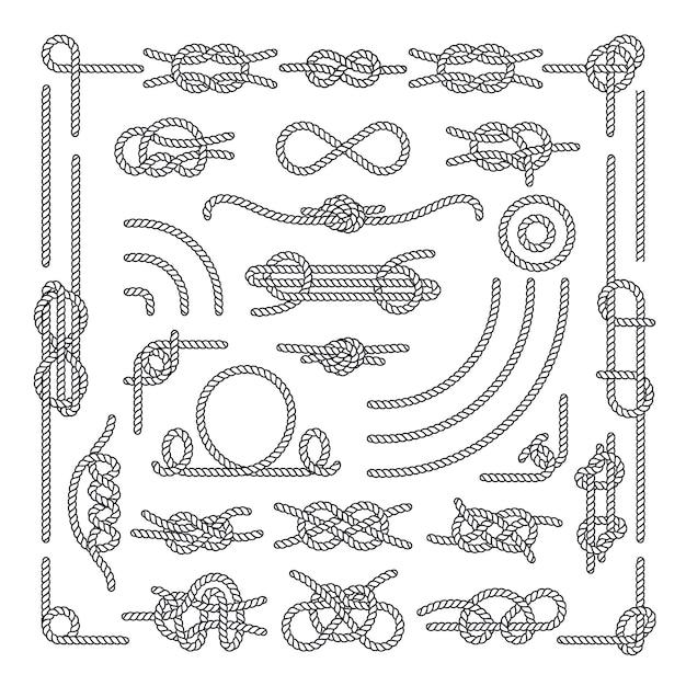 Náutico corda knots vector elementos decorativos vintage Vetor Premium