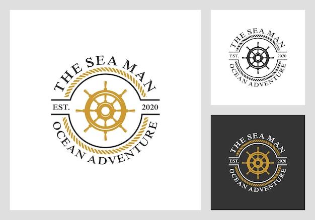 Náutico, vela, design de logotipo de roda Vetor Premium