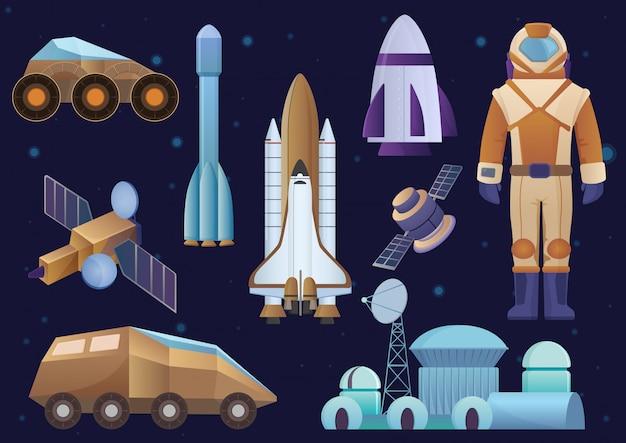 Nave espacial, construção de colônia, foguete, cosmonauta em traje espacial, satélite e marte robô conjunto de rover. conjunto de espaço galáxia. Vetor Premium