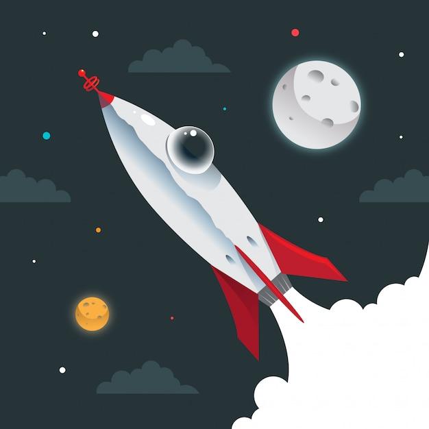 Nave espacial do foguete Vetor Premium