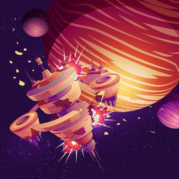 Nave espacial futura ou desenhos animados do acidente da estação orbital Vetor grátis