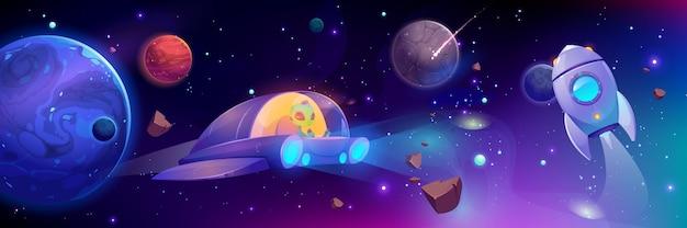 Nave espacial voando na galáxia Vetor grátis