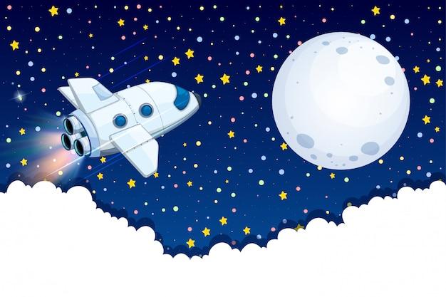 Nave espacial voando para a lua Vetor grátis