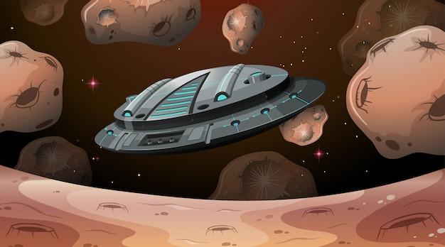 Nave espacial, voando, sobre, marte Vetor grátis