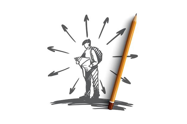 Navegação, localização, mapa, estrada, conceito de viagens. homem desenhado mão com mapa nas mãos, procurando o esboço do conceito do caminho certo. Vetor Premium