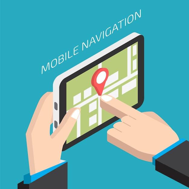 Navegação móvel gps isométrica com tablet. homem, segurando, tablete Vetor Premium