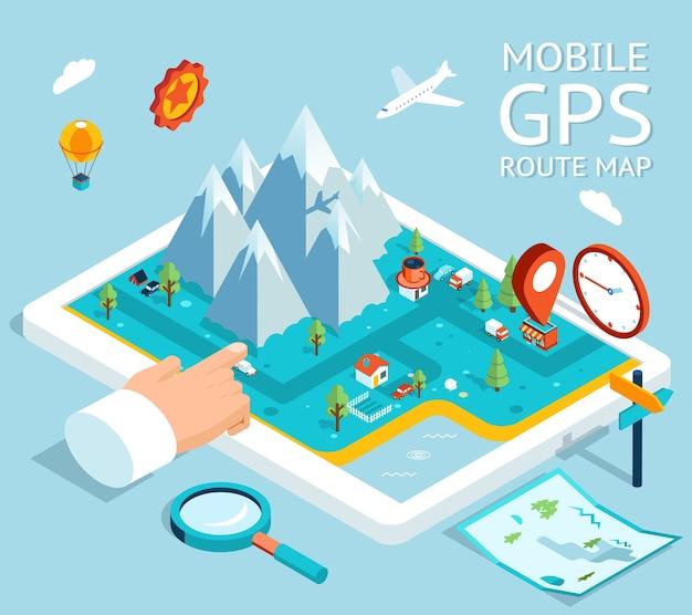 Navegador gps móvel isométrico. mapa plano com notação e marcadores. Vetor grátis