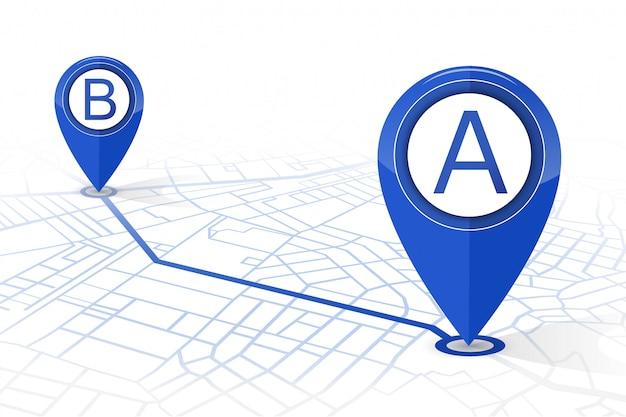 Navegador gps pin verificando ponto a para apontar b cor azul escuro no fundo branco Vetor Premium