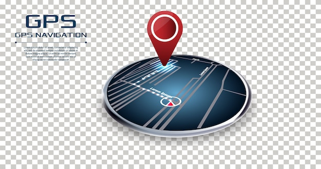 Navegador gps pin verificando ponto a ponto cor vermelha Vetor Premium