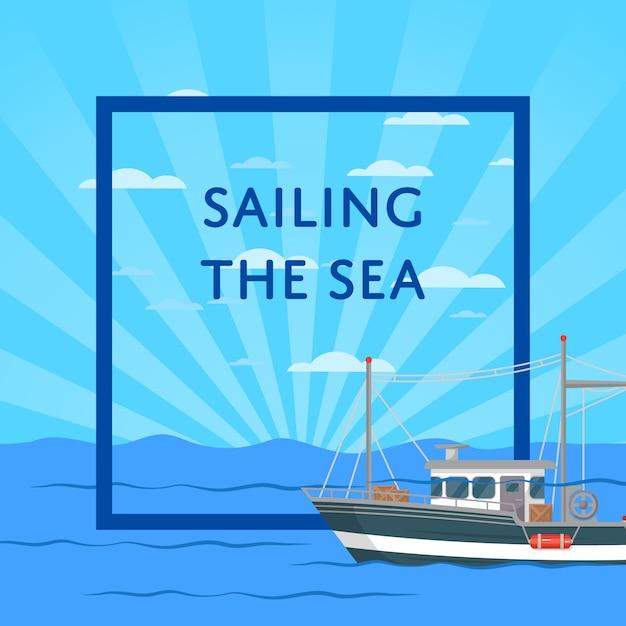 Navegando na ilustração do mar com pequena embarcação Vetor Premium