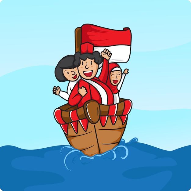 Navegou em 17 de agosto no mar da indonésia Vetor Premium