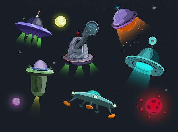 Naves espaciais definir ilustração Vetor grátis