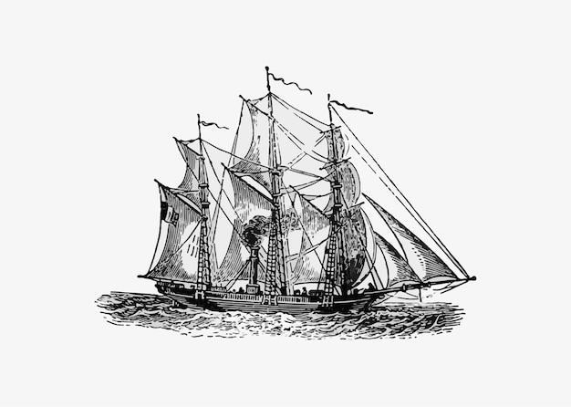Navio antigo de barco a vapor Vetor grátis