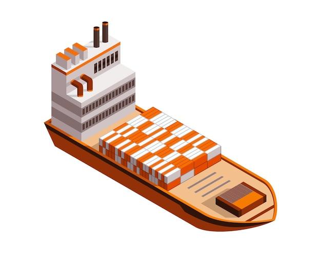 Navio de carga de contêiner isométrico. entrega na água. transporte marítimo de cargas. Vetor Premium