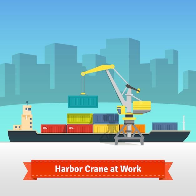 Navio de carga de contentores carregado por guindaste portuário Vetor grátis