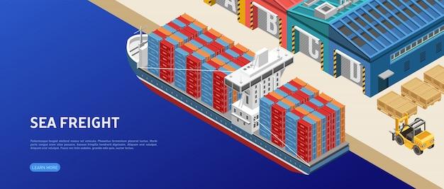 Navio de carga perto de armazéns portuários Vetor Premium