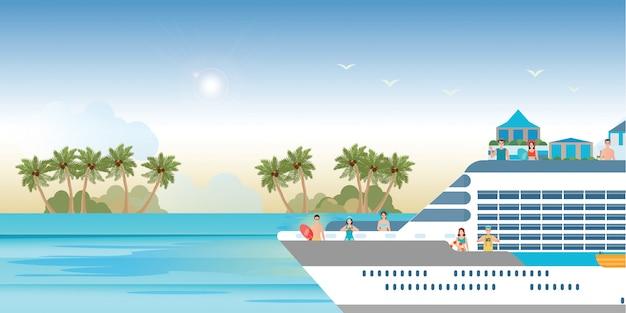 Navio de cruzeiro com turistas viajando em um barco de cruzeiro. Vetor Premium