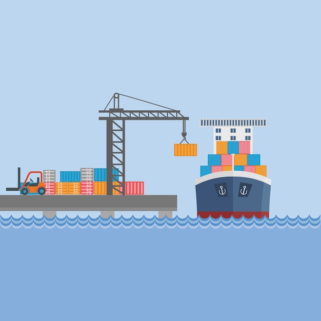 Navio de recipiente no porto Vetor grátis