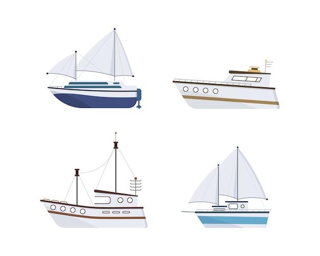Navio marítimo. conjunto de iate, barco, barco a vapor, balsa, navio de pesca, rebocador, barco de recreio, navio de cruzeiro. Vetor Premium