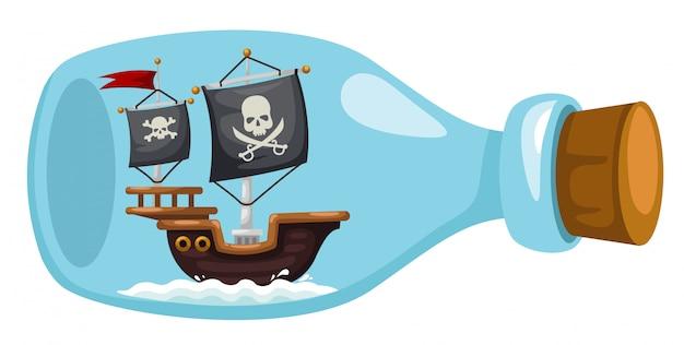 Navio pirata em garrafa Vetor Premium