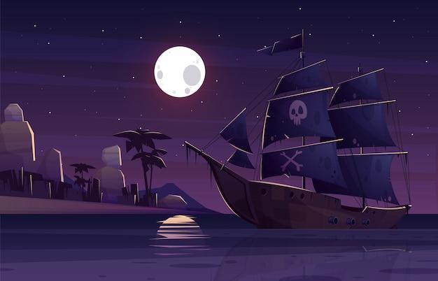 Navio pirata ou galeão com crânio humano e ossos cruzados em velas negras Vetor grátis
