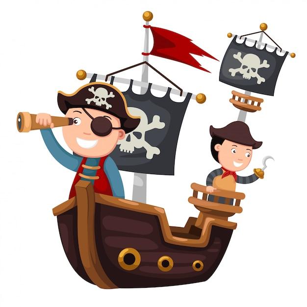 Navio pirata Vetor Premium