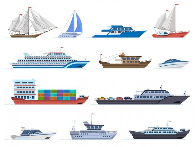 Navios à vela. barcos de transporte marítimo, navio de carga, iate, barco à vela, lancha e oceano cruzeiro, conjunto de ícones de veleiros. ilustração de veleiro e navio, navio e cruzeiro Vetor Premium