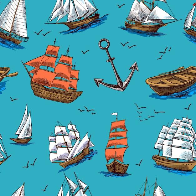 Navios e barcos esboçar padrão sem emenda Vetor Premium