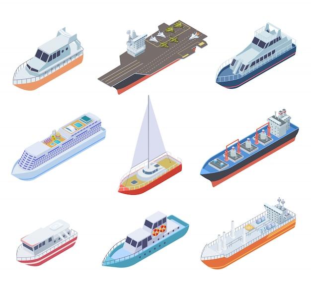 Navios isométricos. navios de transporte barcos náuticos barcaça navio comercial mar negócio marinho vela iate ferry conjunto de remessa de vetor 3d Vetor Premium