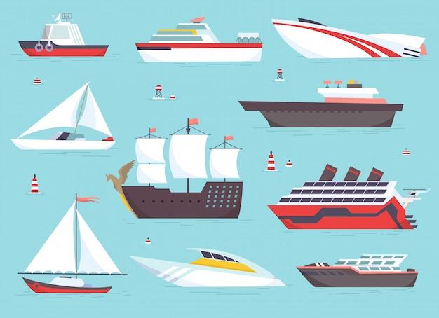 Navios no mar, barcos de transporte Vetor Premium
