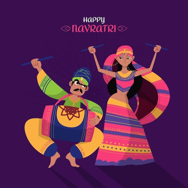 Navratri - ilustração de dançarinas dandiya Vetor Premium