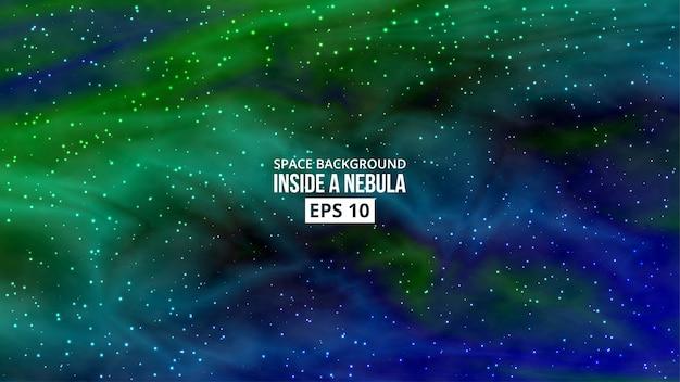 Nebulosa com fundo de estrelas Vetor Premium