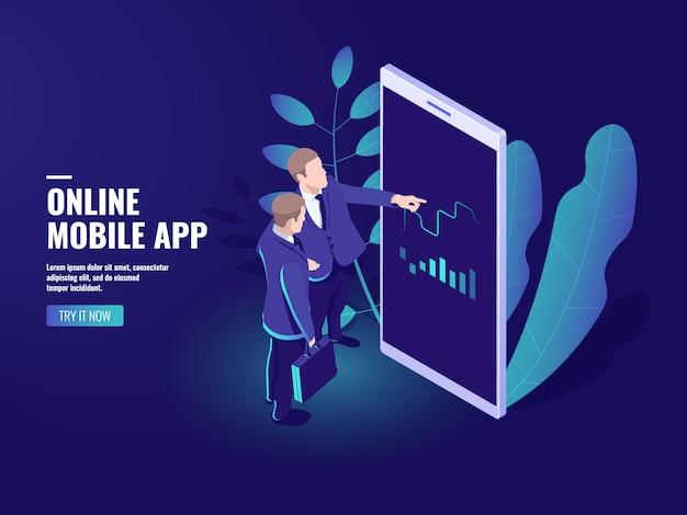 Negociação on-line isométrica ícone, dois empresários falando, negócios analytics Vetor grátis