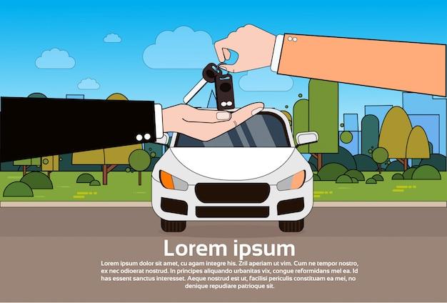 Negociante de carro que dá chaves ao novo proprietário sobre o veículo na estrada. comprando auto concept Vetor Premium