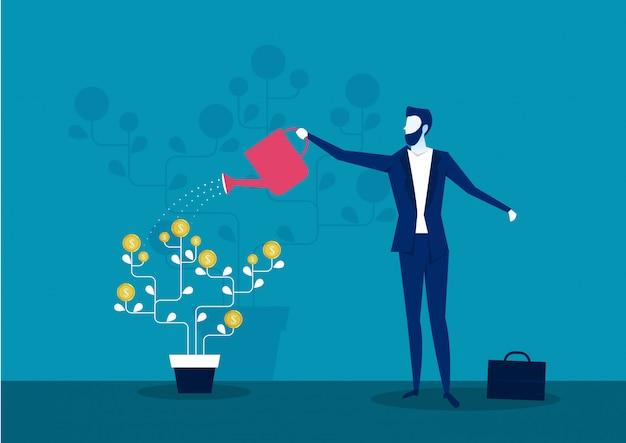 Negócio, aguando, dinheiro, árvore, investimento, finanças, crescimento, financeiro Vetor Premium