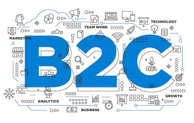 Negócio b2c ao fundo icônico do consumidor Vetor Premium